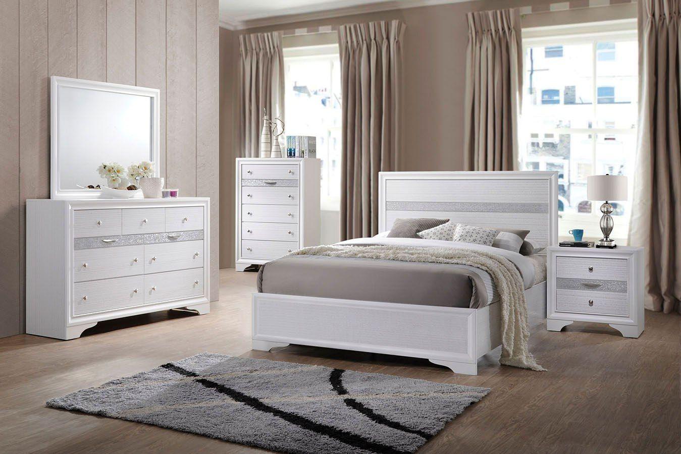 Naima Youth Panel Bedroom Set (White) White bedroom set