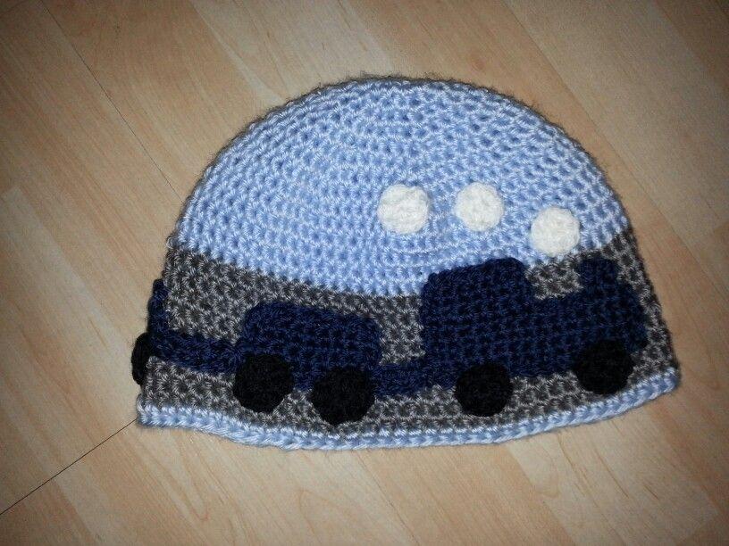 Crocheted train hat