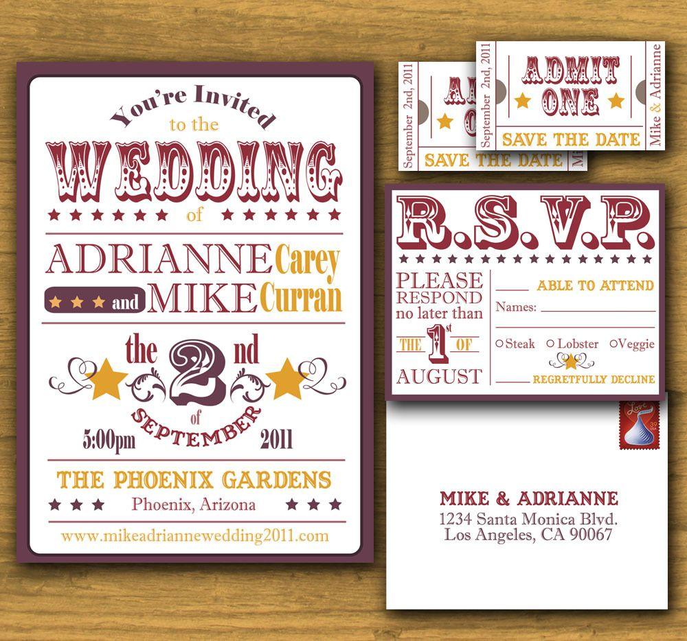 Perfect Circus Themed Wedding Invitations Embellishment - The ...