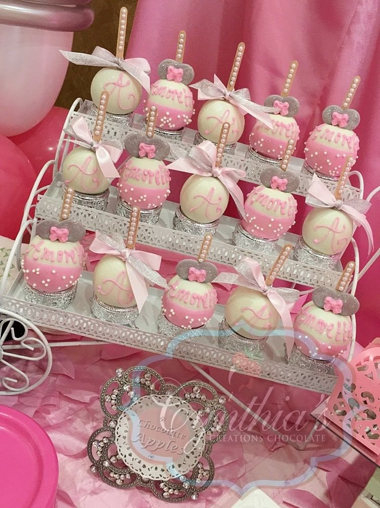 Minnie Mouse Apples Pink And Silver Dessert Table Minnie Mouse Birthday Party Minnie Mouse Theme Party Minnie Mouse Baby Shower