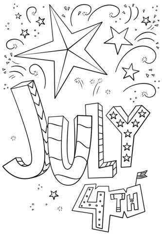 4th of july doodle coloring page in 2020  free coloring pages free printable coloring pages