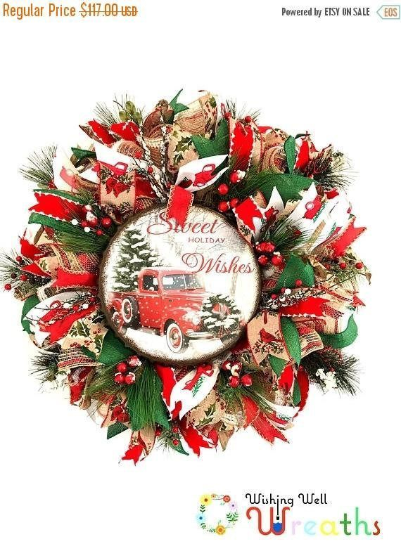 On Sale Classic Red Truck Wreath for Front Door/ Christmas ...