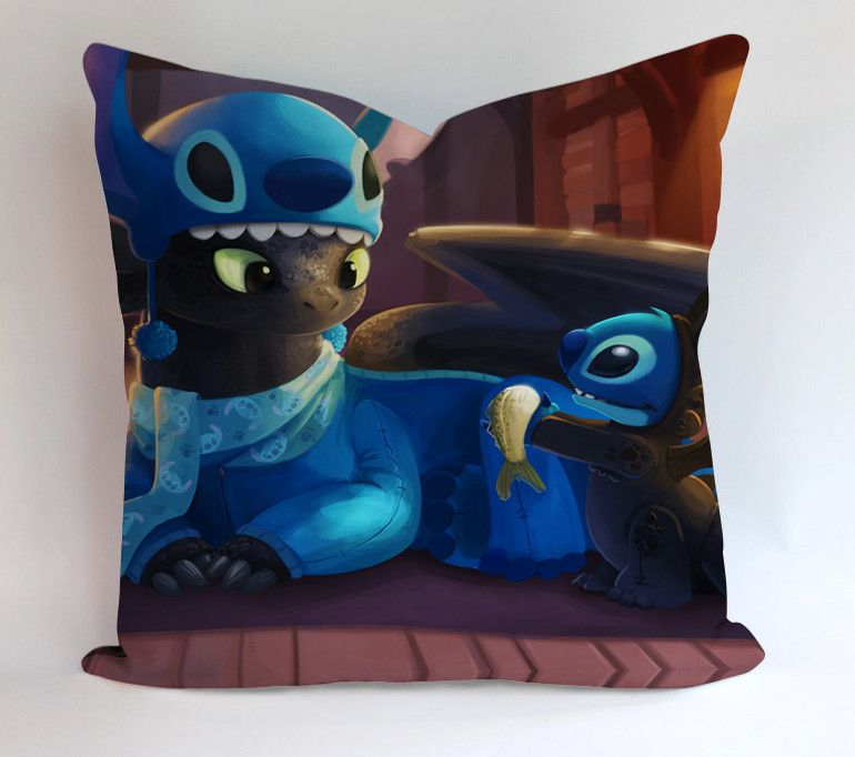 Toothless And Stitch Funny Pillow Cases This pillow cover made from high quality drapery weight 50% cotton fabric and 50% Polyester with hidden zipper closure. All seams are surged to prevent fraying