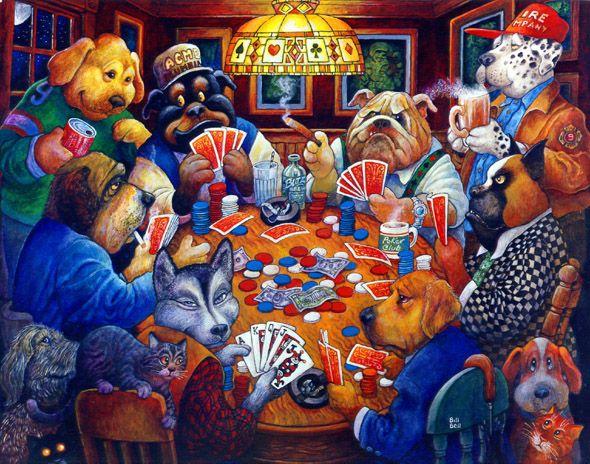 Poker Club By Bill Bell Dogs Playing Poker Bulldog Art Dog Art