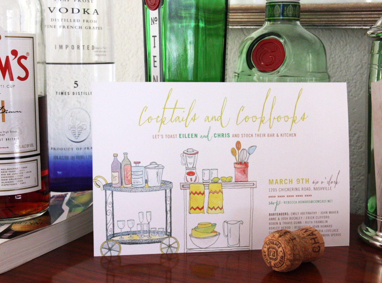 cocktails & cookbooks - stock the bar, kitchen shower invitation ...