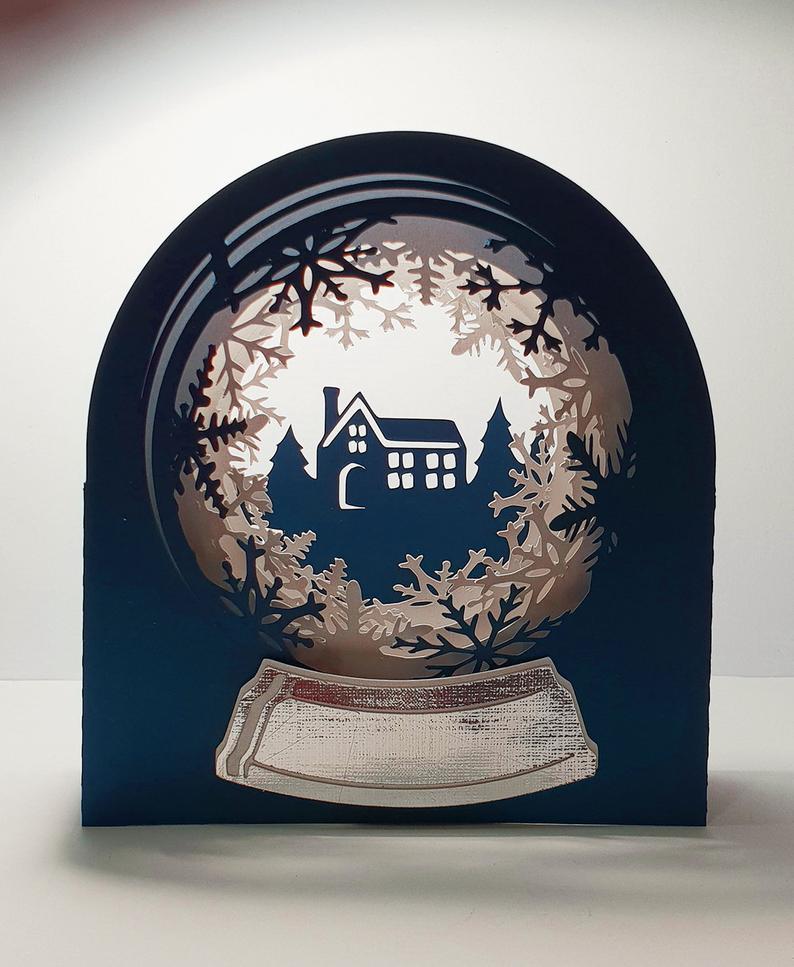 Snow Globe Snowy Cottage template Etsy Snow globes