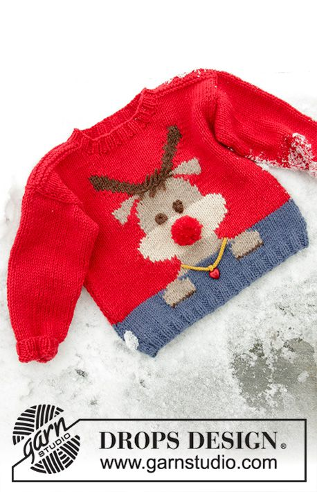 Red Nose Jumper Kids / DROPS Children 32-18 - Kostenlose Strickanleitungen von DROPS Design