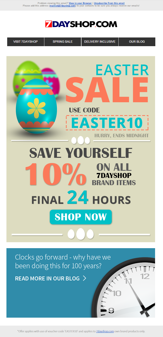 Easter sale email from 7dayshop including discount coupon code 7dayshop easter sale email negle Gallery