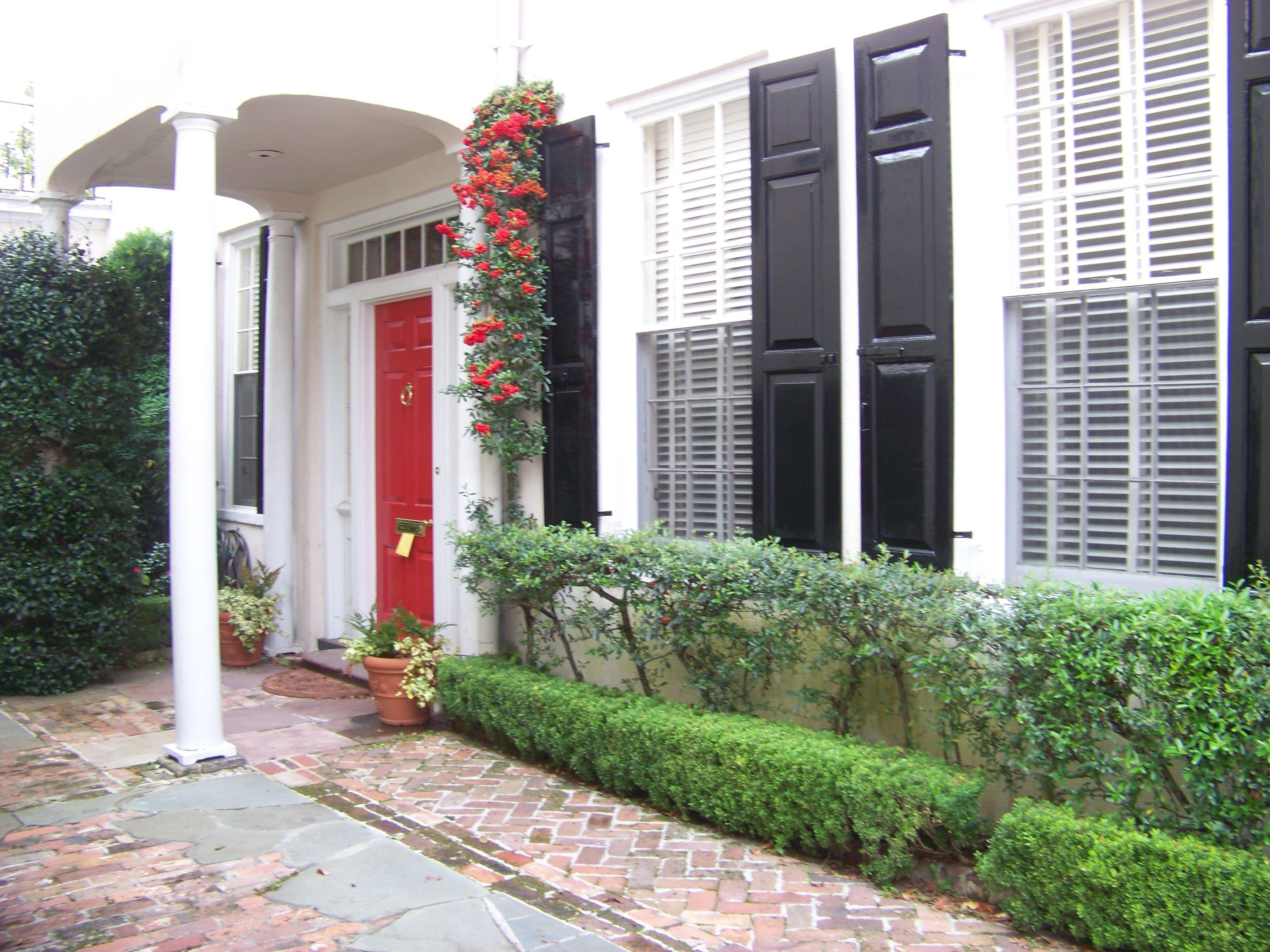 Red door white house black shutterscottage exteriorpaint