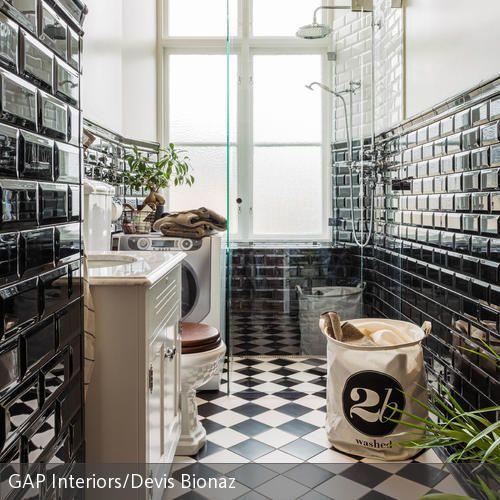 Badezimmer Schwarz-Weiß einrichten Mid century, Interiors and Room - fliesen bad wei