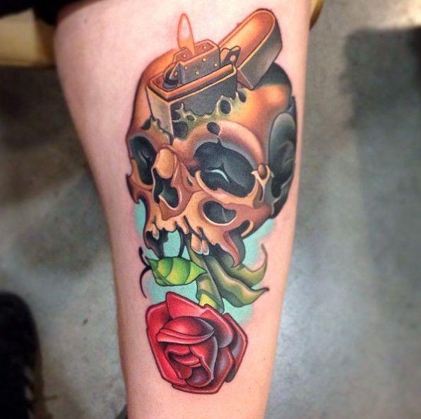 New School Tattoo Syle of Skull Tattoo with Flower Tattoo ...
