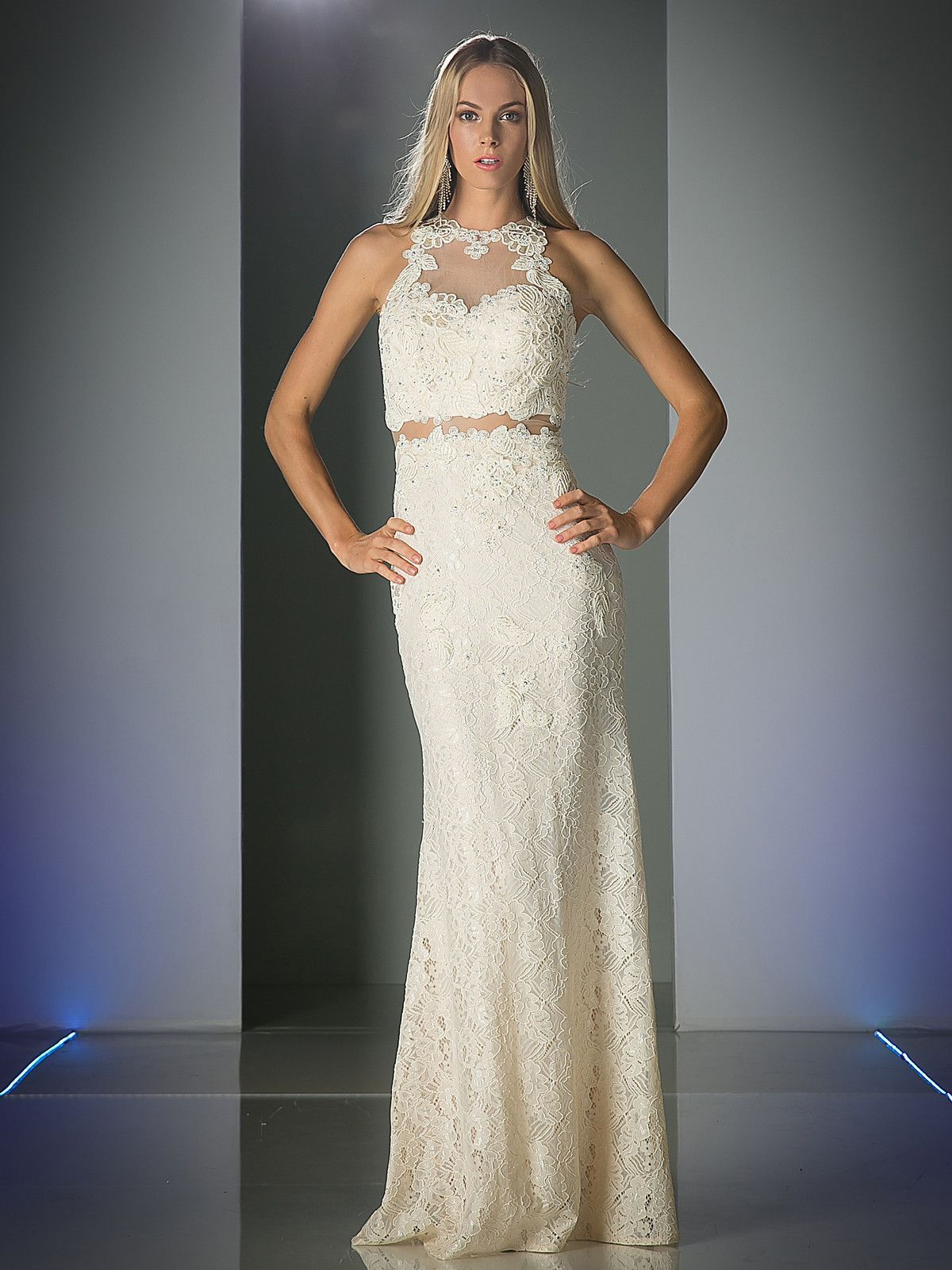 Mock two piece long lace dress by cinderella divine lace
