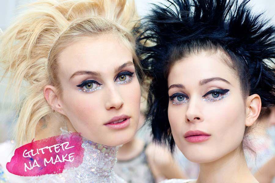 Glitter makeup, maquiagem de glitter, desfile Chanel, maquiagem Chanel, delineador glitter  http://www.justlia.com.br/2014/08/tendencia-maquiagem-com-glitter/
