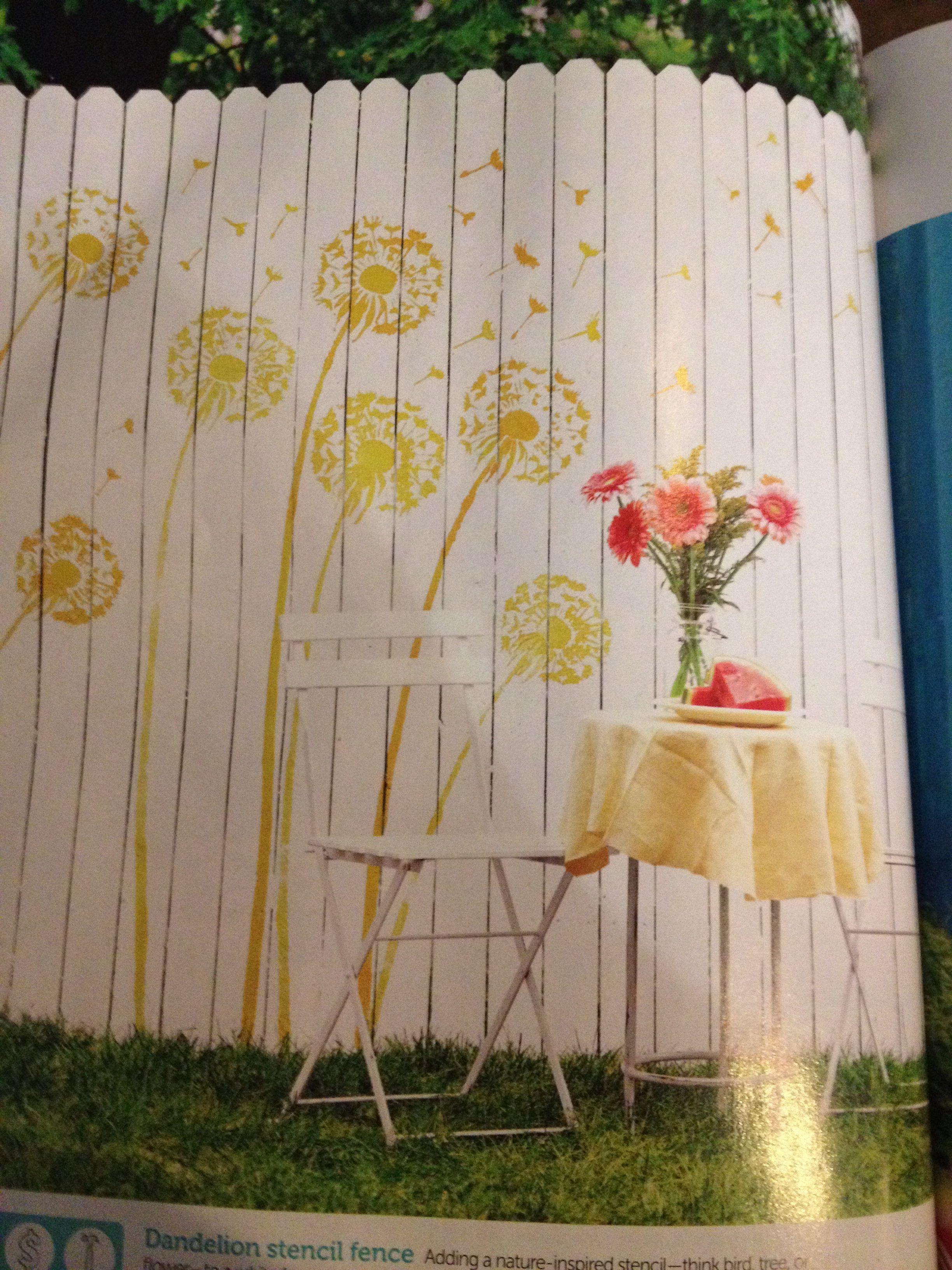 Dandelion stencil fence