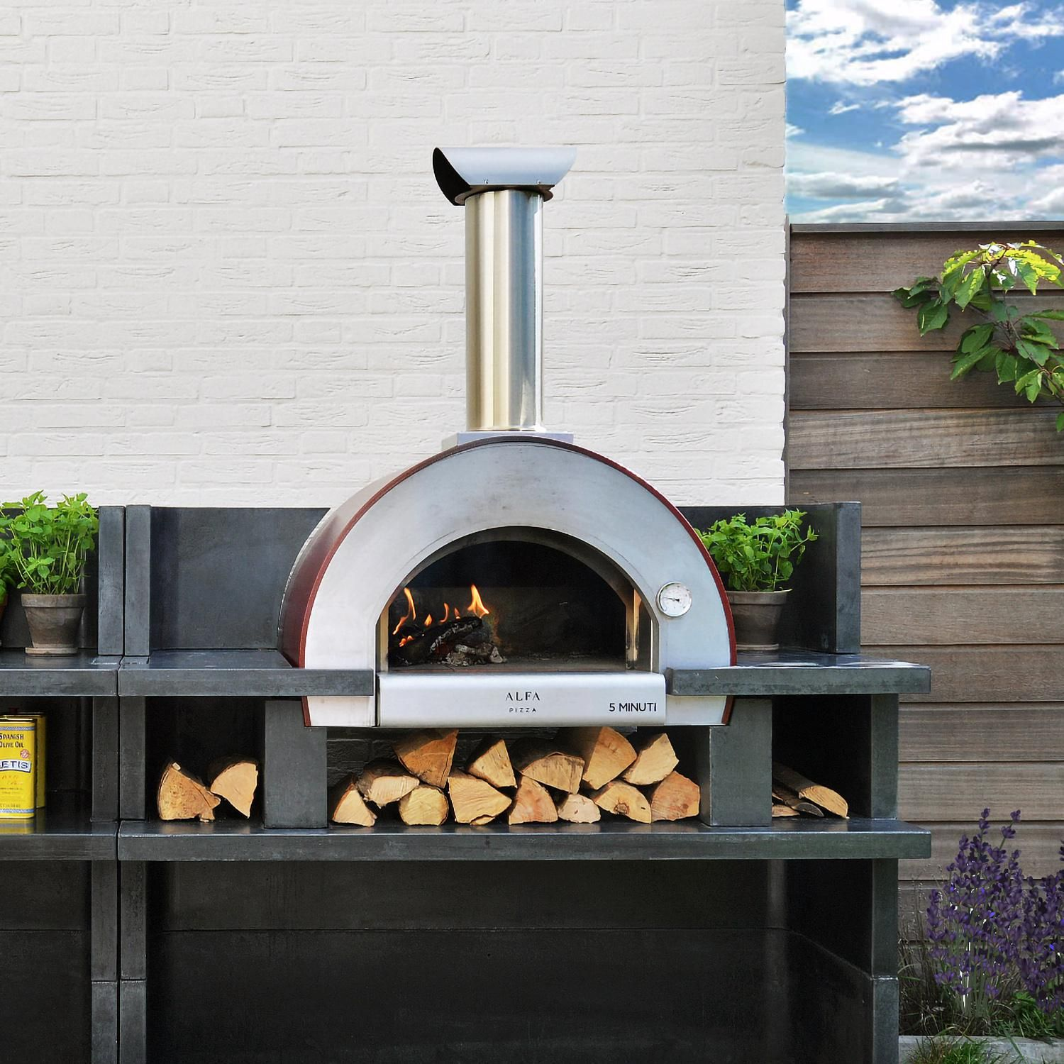 Alfa 5 Minuti 23 Inch Outdoor Countertop Wood Fired Pizza Oven