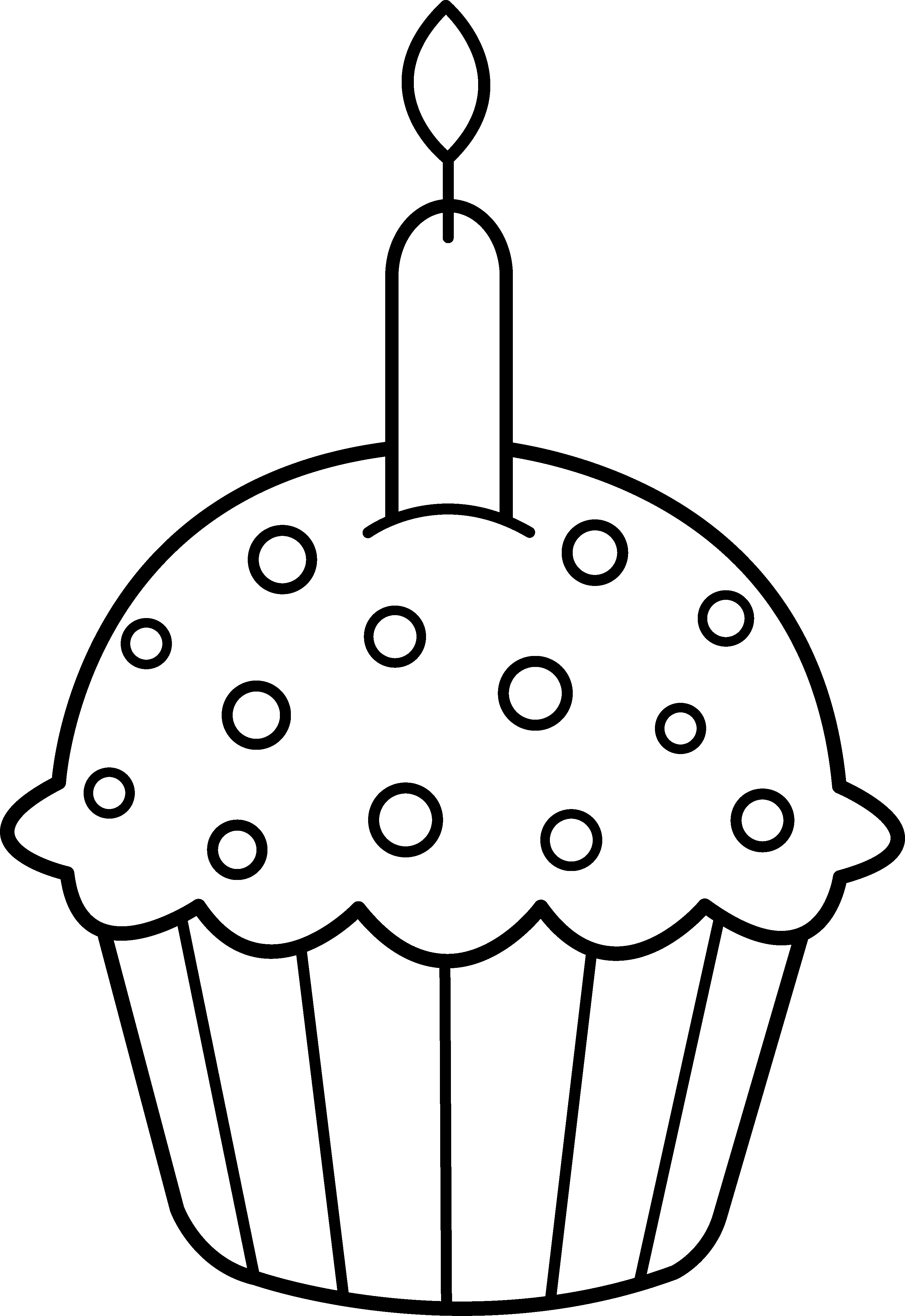 Free Clip Art Birthday coloring pages, Cupcake clipart