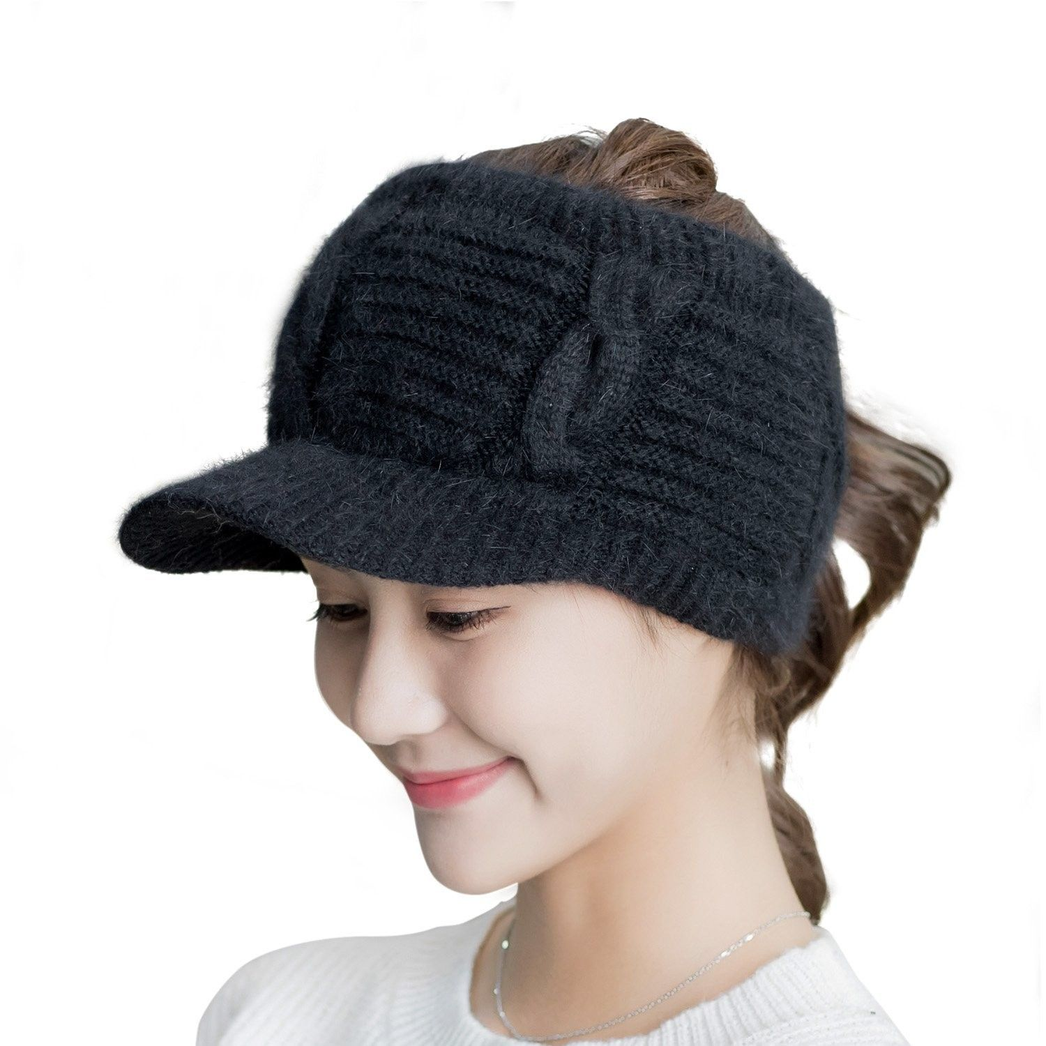 8cff7728eaa Women Girl s Knit Visor Headband Warm Plush-Lined Topless Baseball Cap Hat  - Black - C3188HQTR0N - Hats   Caps