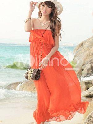 Destiny Bohemian Strapless Chiffon Womens Maxi Dress Milanoo