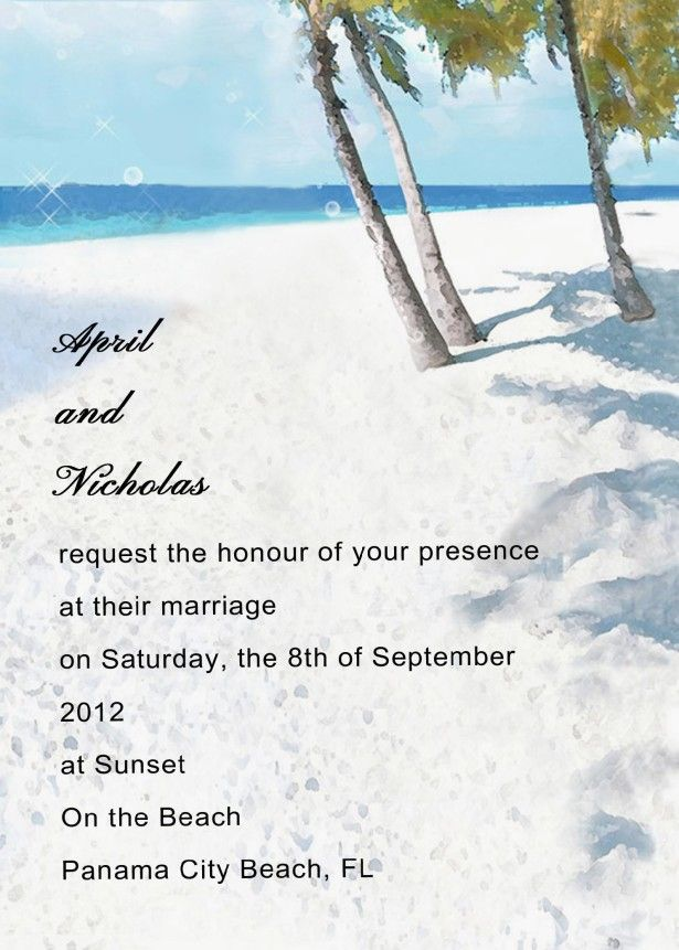 Wedding Invitation Ideas, Elegant Beach Wedding Invitations Wording  Combined With Beautiful Beach Scenery Painting With