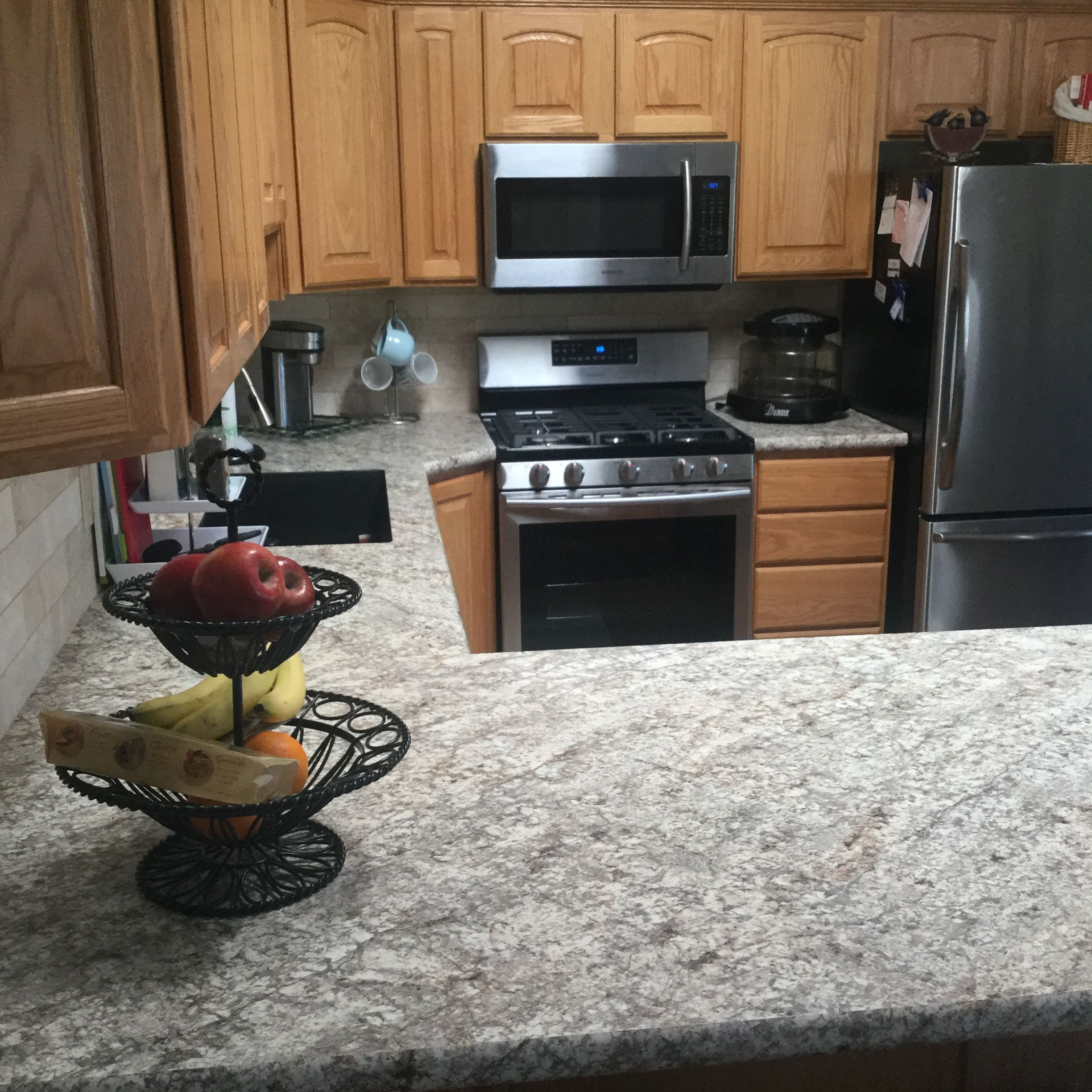 Kitchen Remodel Black Appliances: Finally Completed With New Backsplash, Bianco Romano
