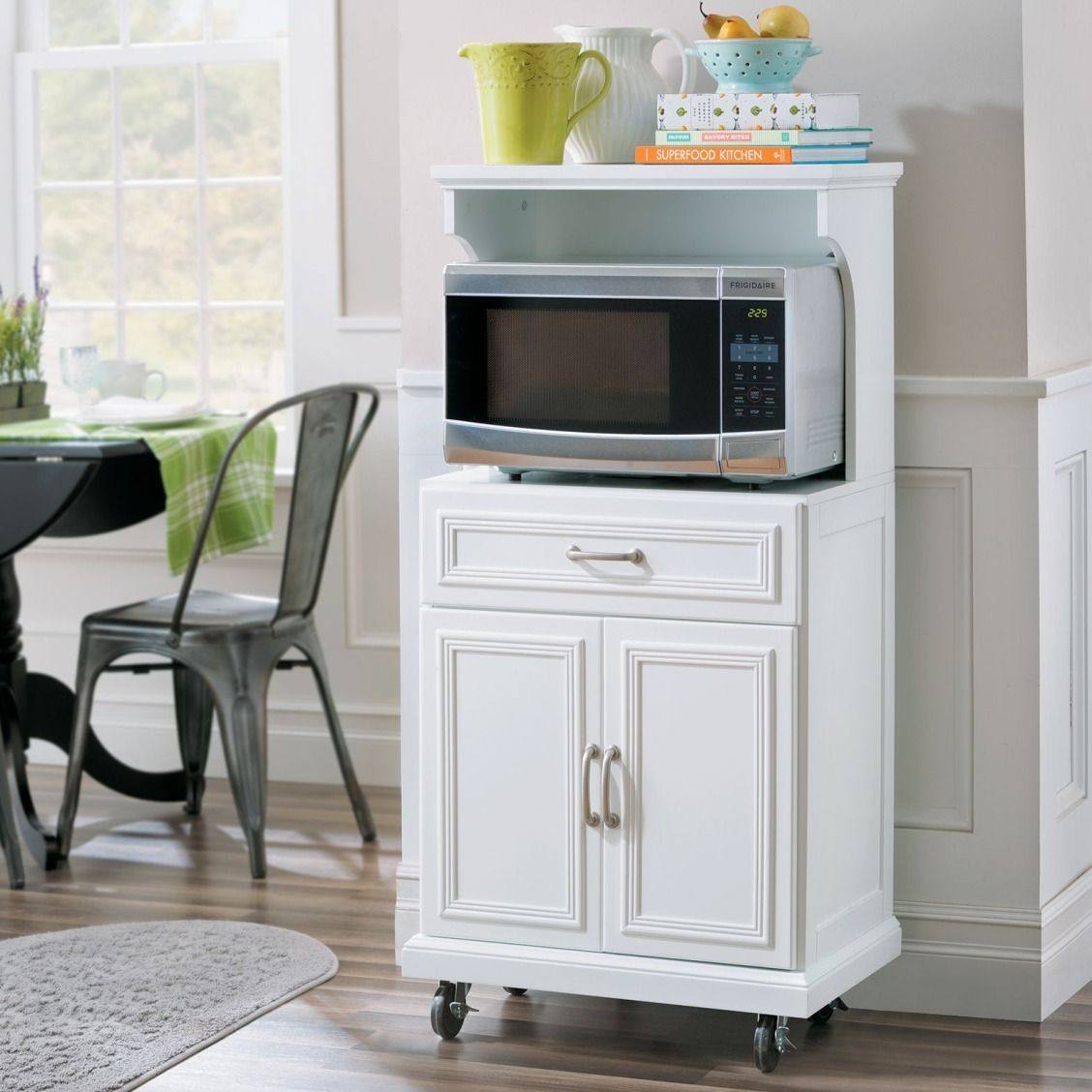 A Handy Small Apartment Furniture Piece This Microwave Cart Has A Built In Outlet And 2 Usb Ports S Small Kitchen Storage Apartment Storage Diy Microwave Cart