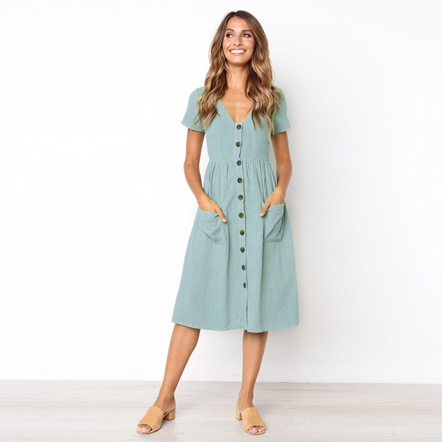 Buttoned V Neck Dress With Pockets Short Sleeve Summer Dresses Casual Summer Dresses Summer Dresses For Women [ 1500 x 1500 Pixel ]