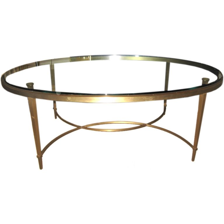 Bronze And Glass Oval Coffee Table From A Unique Collection Of