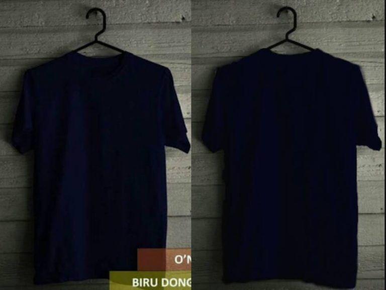 Desain Kaos Polos Depan Belakang Warna Biru Dongker Kaos Baju Kaos Desain