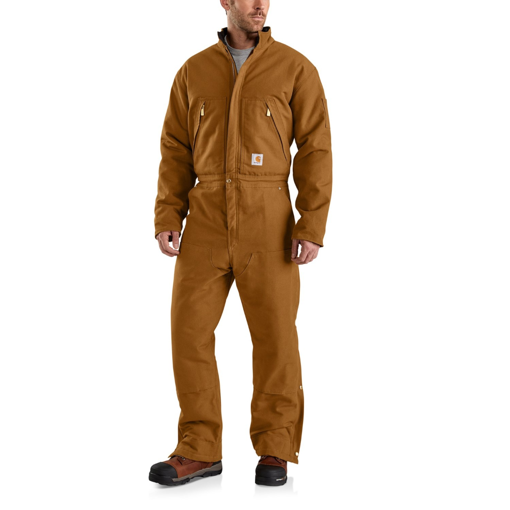 carhartt 103459 quilt lined duck coveralls for men in on insulated overalls for men id=21818