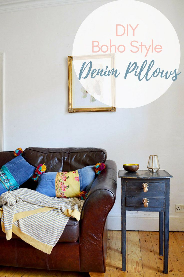 Easy way to make colourful boho style jeans pillows recycle jeans