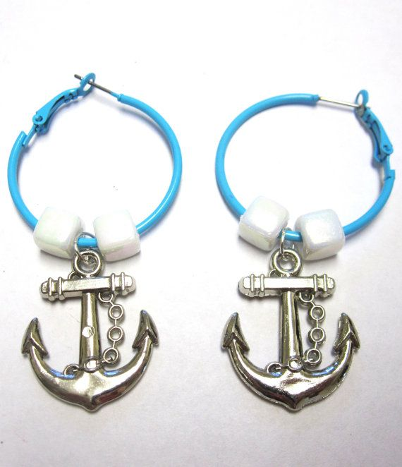 Anchor Earrings Nautical Rockabilly Pin Up by sweetie2sweetie, $8.99