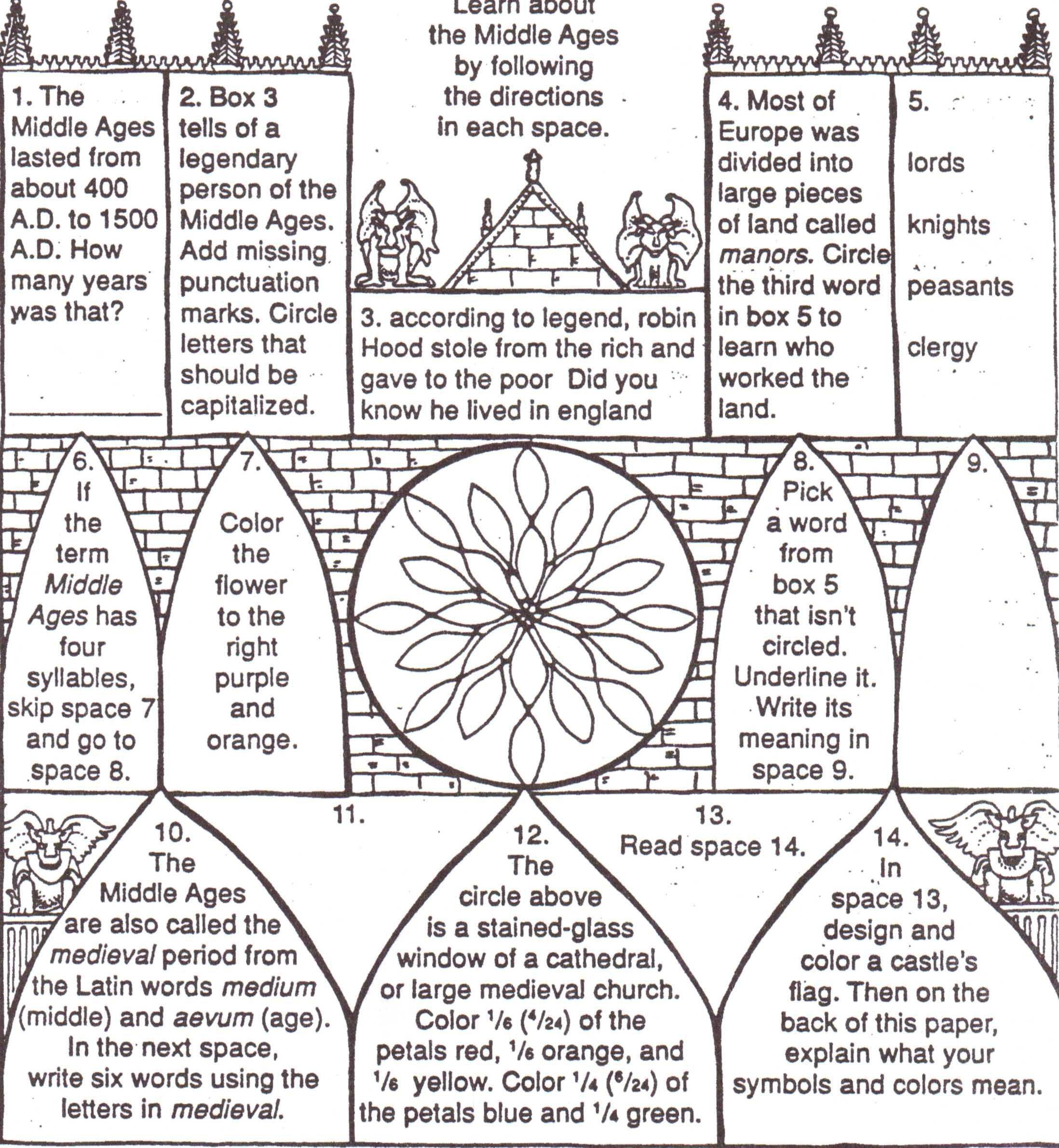 Worksheets Middle Ages Kids For Themiddle Ages For