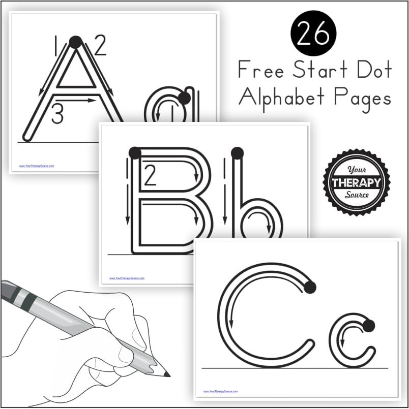 This free alphabet handwriting practice with start dots