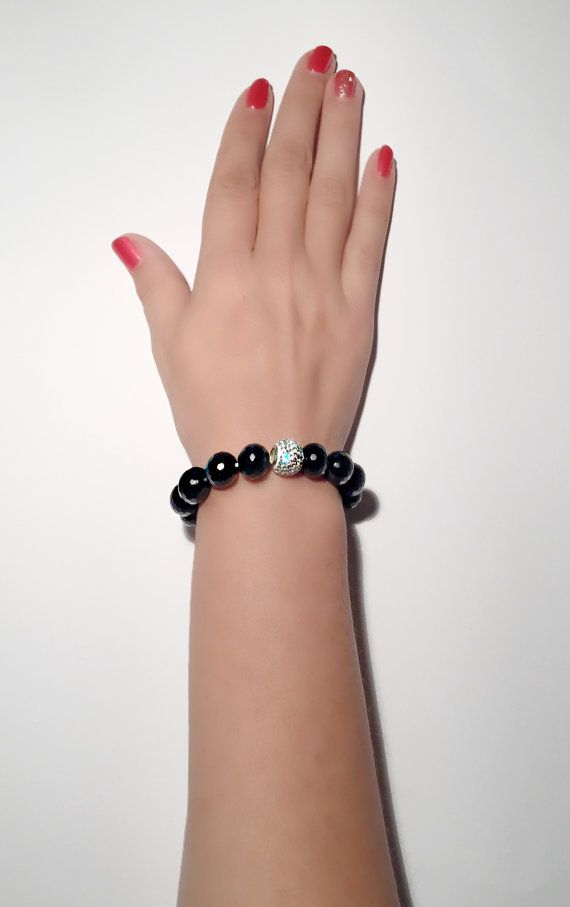 Black Onyx and Swarovski bracelet Onyx and by PearlAnaJewelry