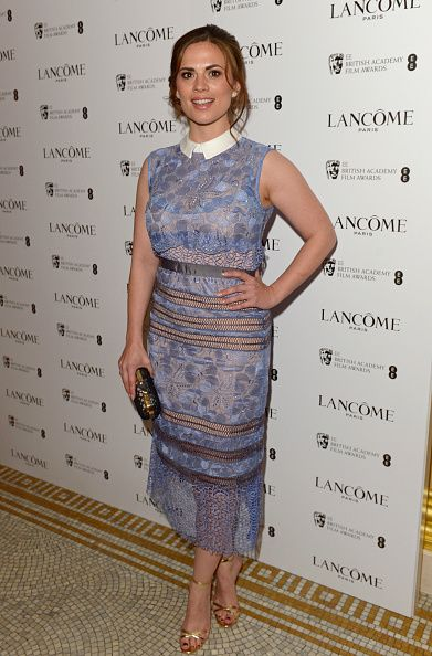 Hayley Atwell attends the Lancome Loves Alma Pre-BAFTA party at Cafe Royal on February 6, 2015 in London, England.
