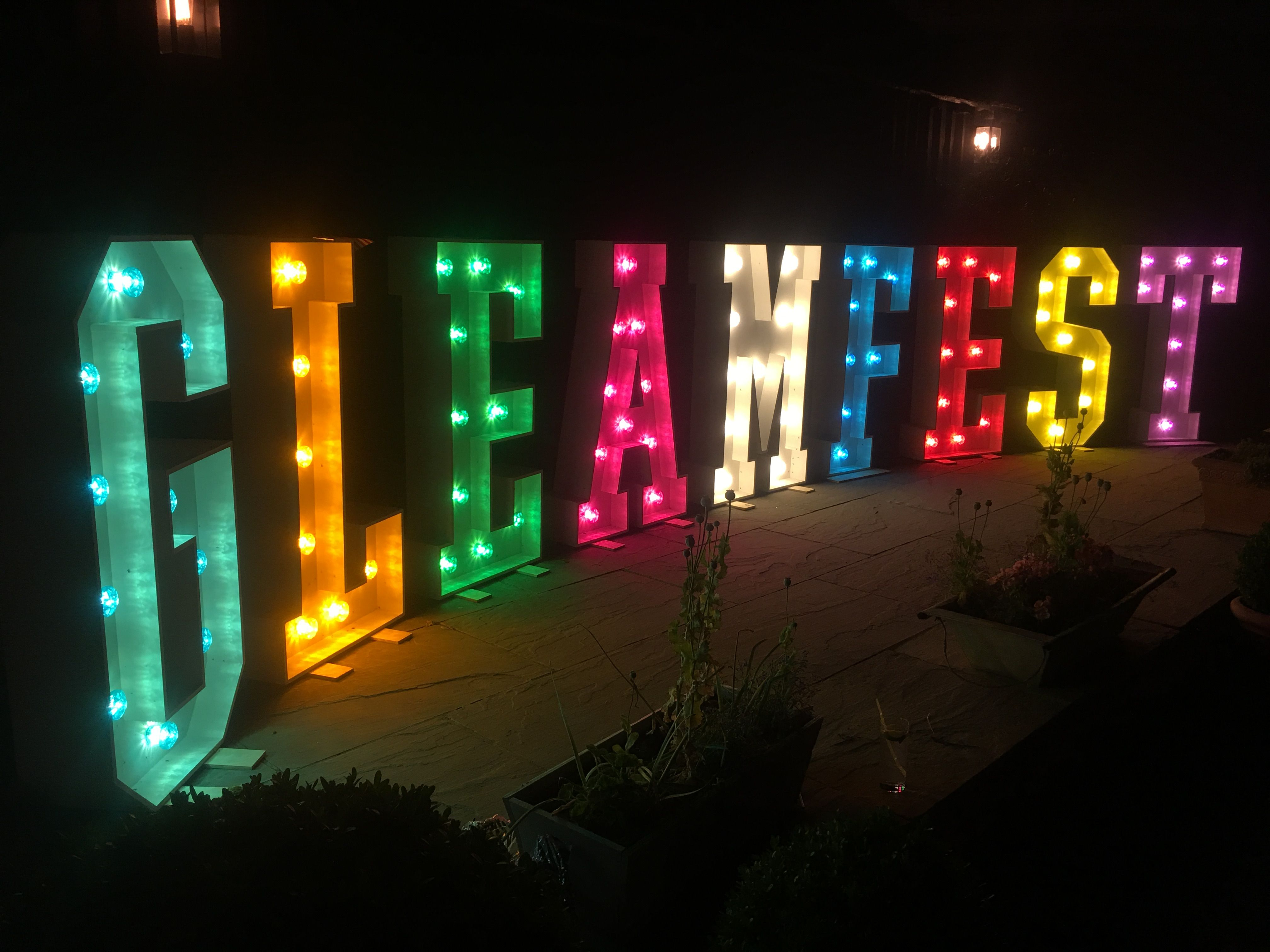 giant light up letters at preston court barn canterbury kent gleamfest