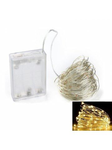 10M 100-LED Silver Wire Strip Light Battery Operated Fairy Lights