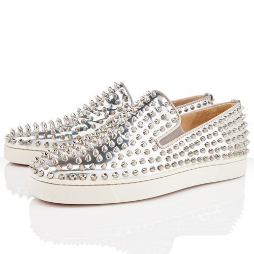 7d6efbe6828f Mens Christian Louboutin Roller Boat Flat Sneakers Silver