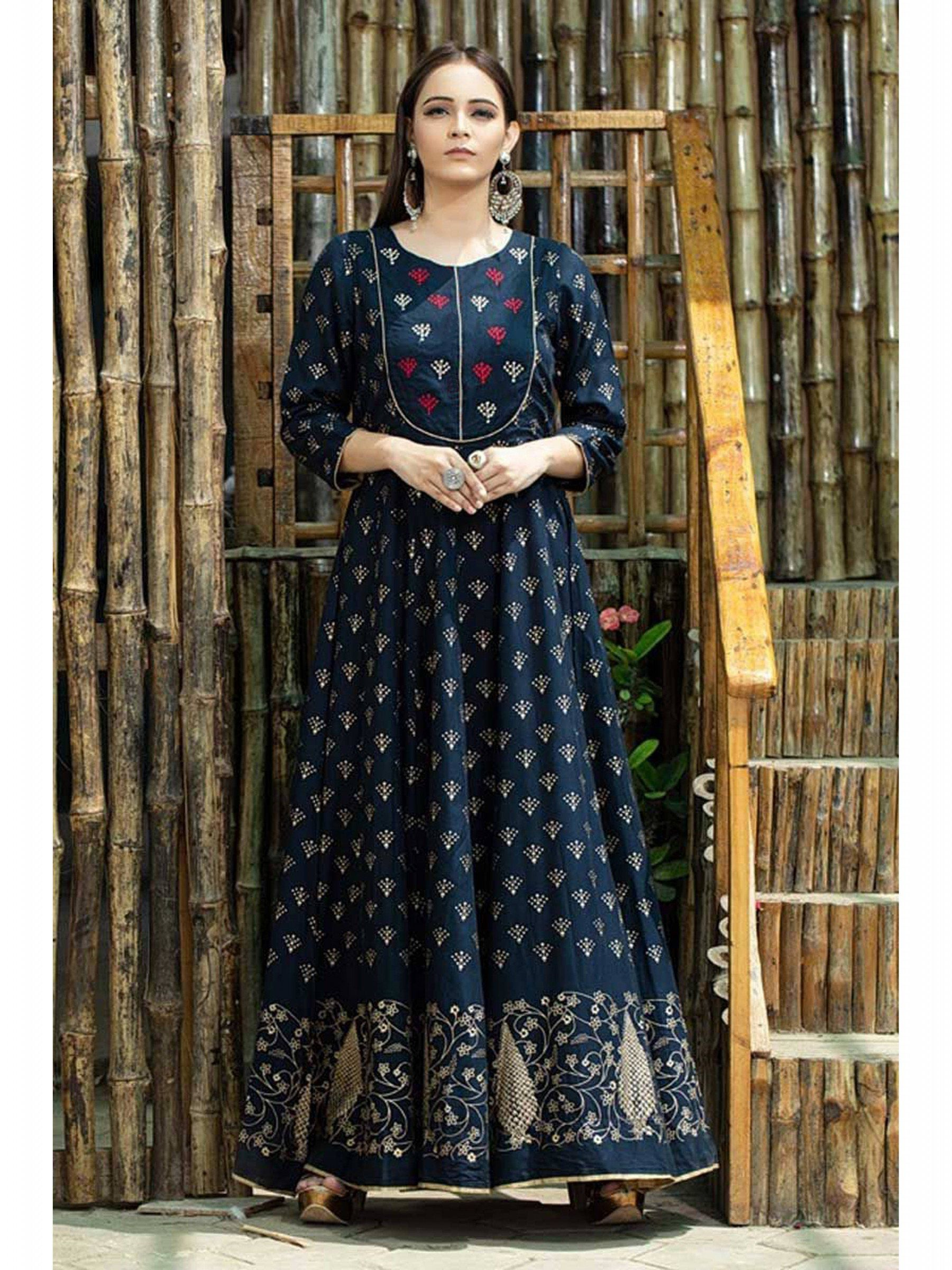 Navy Blue Colored Readymade Floor Length Designer Gown In Muslin Cotton Silk Designed With Beautiful Digital Print All Over Printed Gowns Cotton Gowns Fashion