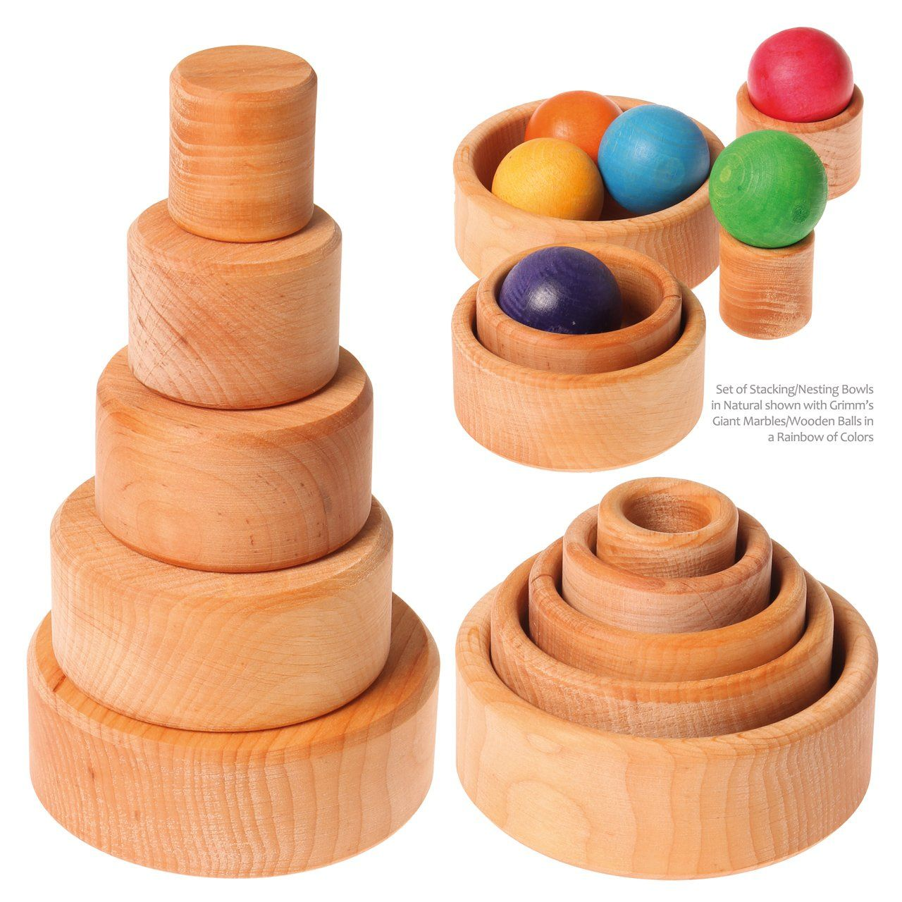Grimms Set Of 5 Small Wooden Stacking Nesting Bowls Natural