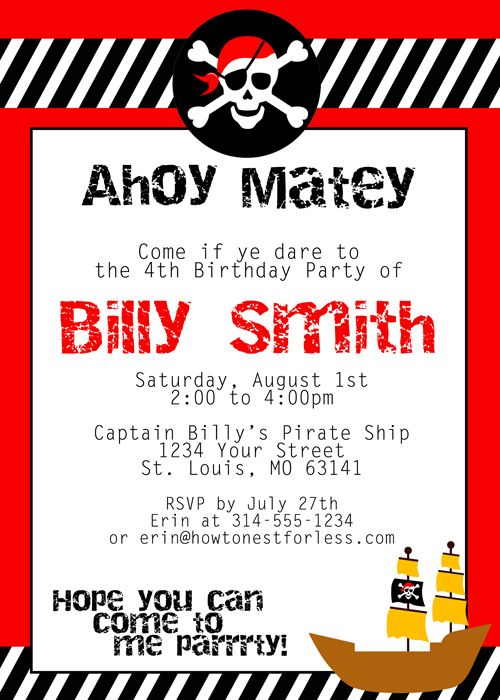 Pirate Themed Birthday Party with FREE Printables – Kids Pirate Party Invitations