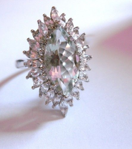 Vintage Sterling Silver Prasiolite Cocktail Ring 3.60ct and 2.04ct Whi