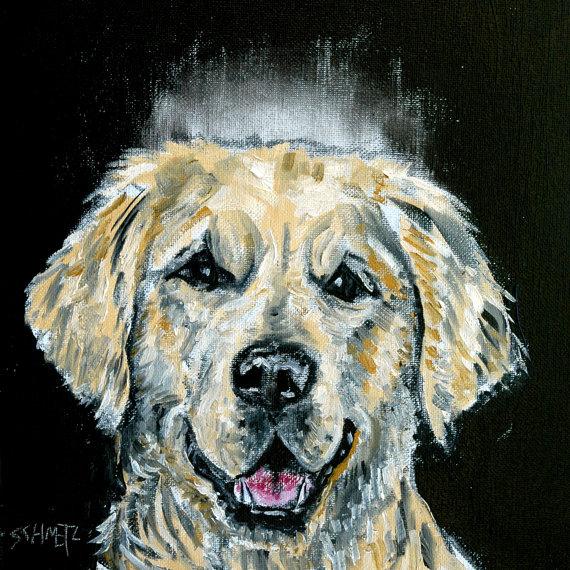 Golden Retriever Angel Dog Print On Ceramic Tile Coaster Gift
