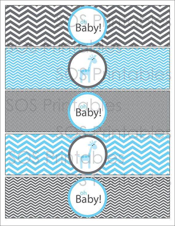 Blue Giraffe Baby Shower Printable Water Bottle By Sosprintables