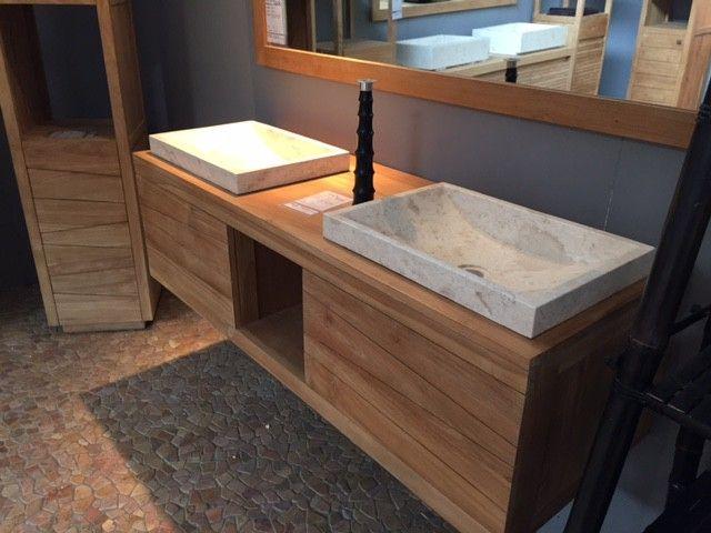 vasque a suspendre 2 Meuble+salle+de+bain+140cm+prêt+à+suspendre. 2+vasques+en+marbre+comprises.  100%+teck+massif En+savoir+++avec Bain+Teck,+dédié+à+la+salle+de+bain