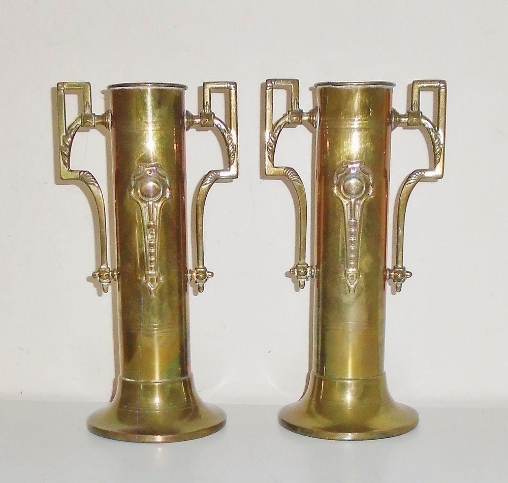Lovely little pair of antique wmf style art nouveau jugendstil lovely little pair of antique wmf style art nouveau jugendstil brass vases reviewsmspy