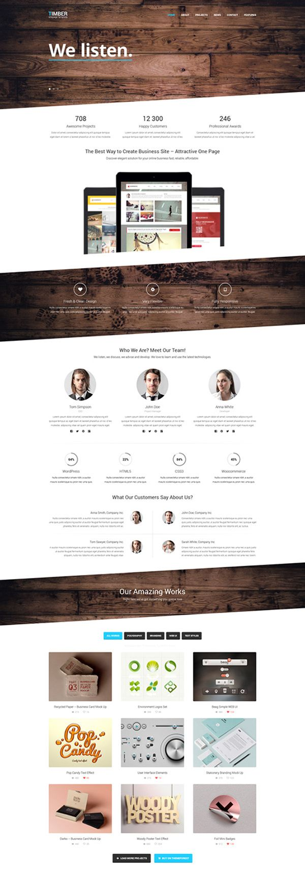 Timber - Free One Page Bootstrap Template | WEBデザイン参考 ...