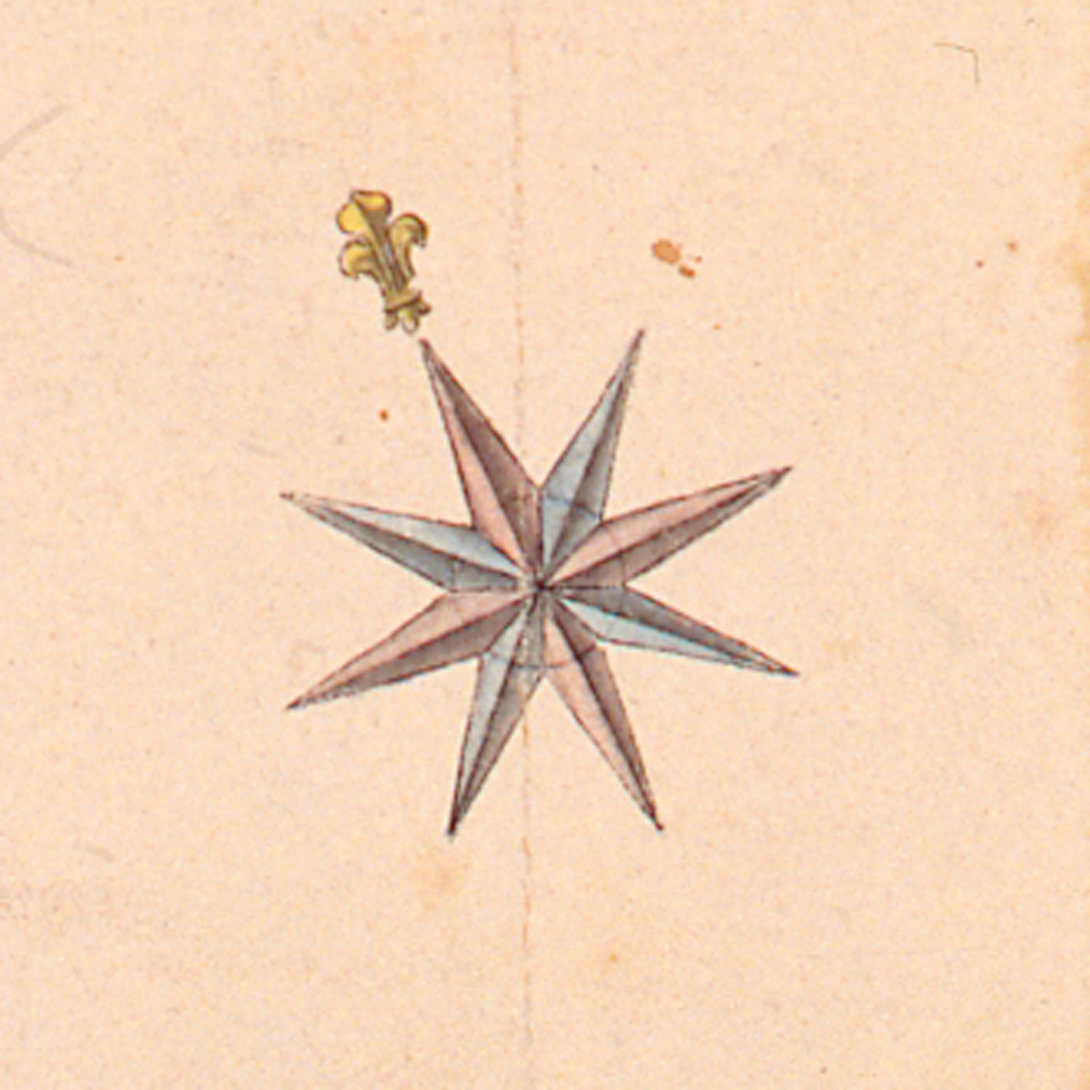 Rose des vents   détail d'une carte de Toulon, 1776 (c) Musée des