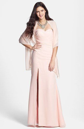 af51c2886c1b Faviana Back Cutout Strapless Dress with Shawl available at #Nordstrom