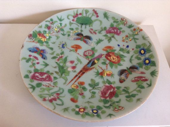 Antique Chinese Porcelain Celadon Famille Rose Plate Bowl With Bird And Butterfly S Antiques Celadon Rose Plated